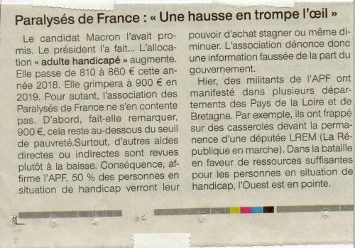 hausse aah 2018 APF, aah association des paralysés de France